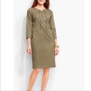 Talbots Olive Green Lace Up Tunic Dress
